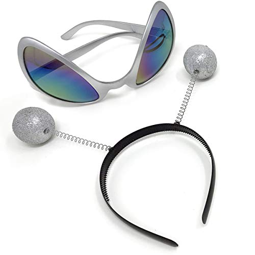 Silver Alien Glasses Martian Headband Set Costume Party Accessory Head Boppers