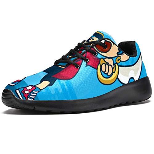 Zapatillas de correr para mujer azul pirata de malla transpirable para caminar, senderismo, tenis, color, talla 37 EU