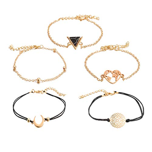 5Pcs Bracelets for Womens Bohemian Openwork Bracelet Bangle Friendship Personalised Romantic Valentine's Day Present Birthday Christmas Graduation Gifts(One Size,Multicolor)