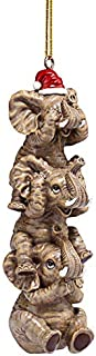 Design Toscano See, Speak, Hear No Evil Elephant Holiday Christmas Ornament, Single, Full Color