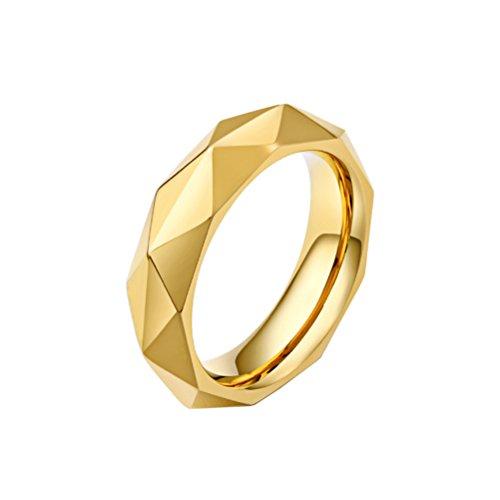 HIJONES Uomo Acciaio Inossidabile Diamante Taglio Brillante Anello, Oro Taglia 17