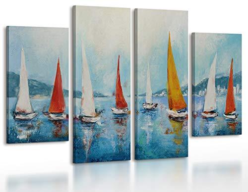 YS-Art   Acryl Gemälde Regatta   Handgemalte Leinwand Bilder   120x70cm   Wandbild Acrylgemälde   Moderne Kunst  Leinwand   Unikat   Blau   4-teilig
