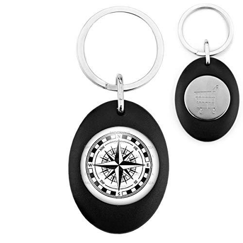 Porte-Clés Noir Ovale Jeton Caddie Compas Boussole 2 - Symbole Marin - Idée Cadeau