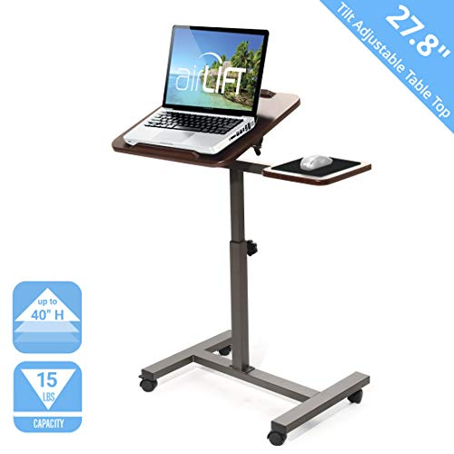 Seville Classics 27.8' Tilting Sit-Stand Height Adjustable Mobile Laptop Computer Desk Cart with Mouse Side Ergonomic Table, Walnut