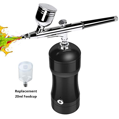 COSSCCI Upgraded Airbrush Kit, Portable Auto Mini Air Brush Gun with Compressor Kit Quiet Air Brush Painting Kits for Cake Decorating Makeup Art Nail Model Painting Tattoo Manicure (Black)