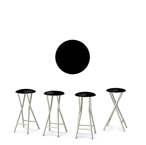 Best of Times 13169W2507 Martini 30' Portable Padded Bar Stools, Fabric Slip Covers with Your Choice of Design, Easily Folds, Set of 4, Black
