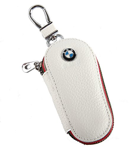 Key chain Bag white Lychee rind pattern Genuine Leather Ring Holder Case Car Auto Coin Universal Remote Smart Key cover Fob Alarm Security Zipper keychain Wallet Bag (BMW)