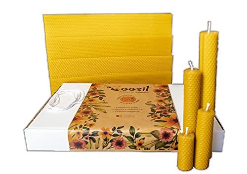 Boosit, láminas de cera Española 13 planchas 27,20,13,6´5 x 42 cm, cera para velas.panal de abeja