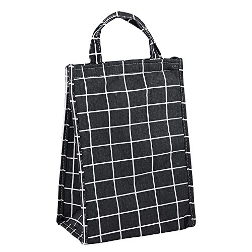 Gukasxi Reusable Insulated Lunch Bag Waterproof Lunch Box Containers Canvas Fabric Lunch Tote Bag with Aluminum Foil, Large Capacity Cooler Tote Box for Woman Man Work Picnic or Travel (Black)