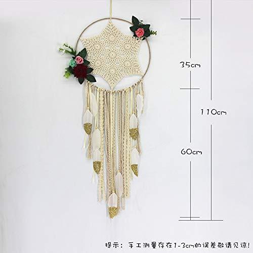 KGDUYH Sueño Decorativo Receptor carillón de Viento Adornos Colgantes Grande círculo del diámetro 35 cm, 110 cm de Longitud Total (Color : Beige)