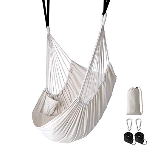 Chihee Hammock Chair Large Hanging Chair Relax Hanging Swing Chair Without Spreader Bar Lightweight Portable Cotton Woven for Superior Comfort Durability 2 Strong Swing Straps 2 Carabiners Included