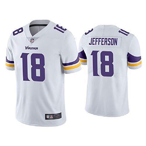 LLGHT Maglia da Rugby NFL Uomo, Maglietta con Minnesota Vikings # 18 Jefferson Logo di Design Squadra di Football Americano Camicia in Edizione Ricamata Manica Corta Unisex