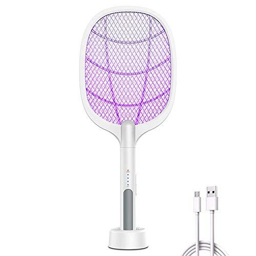 Zueyen - Zanzariere per zanzare, lampada e racchetta 2 in 1, 3000 Volt USB ricaricabile palmare per casa, patio, interni ed esterni, con 3 strati di rete touch