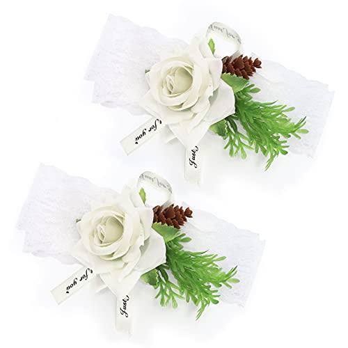 Ramillete De Muñeca, Elegante Flor De Muñeca con Alto Rendimiento para Bailes(Blanco)