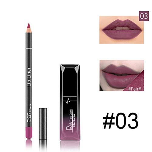 Qianren Matte Lipgloss und Lipliner Set 2 Stück für Mädchen Frauen Smooth Crayon Velvet Gloss...