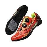 KUXUAN Calzado De Ciclismo De Carretera para Hombre - Calzado De Ciclismo De Carretera para Mujer Taco Transpirable con Hebilla Giratoria,Orange-EU37