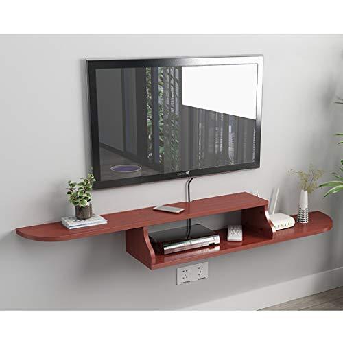 Drijvende TV Console muur gemonteerde TV kabinet Media Console Drijvende Tribune van TV Kabel opslag Rack Muur TV Shelf Modern meubilair (Color : Teak color)