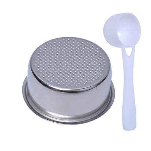 51mm Filter Basket Compatible with Breville/Delonghi, Espresso Filter Basket with a Coffee Spoon, Single Wall Non-pressurized Portafilter Basket
