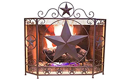 BestGiftEver Decorative Metal Foldable Fireplace Screen with Star in Brown Metal Mesh Rustic Western Country Style from Marco International, INC.