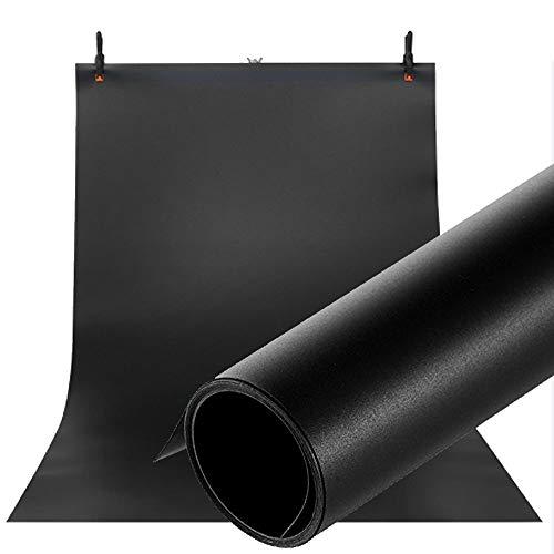 Selens PVC Hintergrund 120x200cm Wasserdicht Fotografie Hintergründe Matte und Glatte Doppelseitiger Background für Fotostudio Schwarz