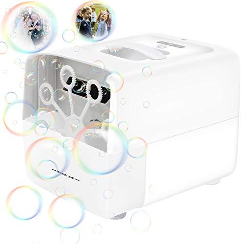 Cadrim Máquina de Burbujas Jabón de Burbujas Eléctrico Portátil de Burbujas Alimentado por Batería y Cable USB para Fiestas, Bodas, Escenarios, Teatros, Fiestas Infantiles, Cumpleaños
