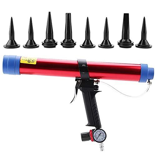 KP-442 Herramienta neumática para calafatear, 300-600ml de cristal Pegamento sellador cartucho de aire aplicador de cola con calafateo Boquilla de la válvula (naranja)