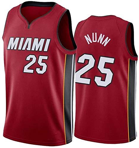 Heat Team # 25 Nunn Basketballtrikots, Heat City Edition Basketballuniform, atmungsaktives Netz Bunte Swingman Sportswear Westenshorts (S-2XL) S red