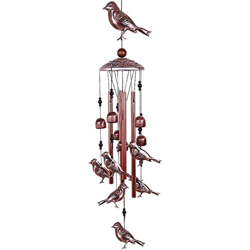 Carrillon de viento exterior Campanas de viento de aves Viento de metal impermeable con 4 tubos de aluminio 6 campanas Viento romántico Chime para la decoración del hogar Interio Campanas de V