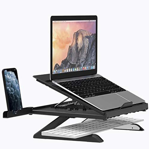 ZTSS Soporte Ordenador Portátil con Soporte para TeléFono MóVil, Ergonómico Soporte Laptop Ajustable de Aluminio Compatible con Macbook Pro/Air y Otros Portátiles y Netbooks de 11-17 Pulgadas