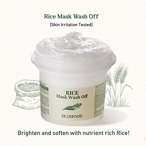 SKINFOOD Mask Rice 100g - White Rice Exfoliating Scrub Wash Off Face Masks for Darken Skin