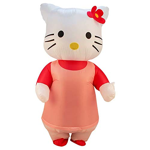 Womens Hello Kitty Aufblasbares Kostüm Adult Deluxe Kostüm Halloween Kostüm Blow Up Party Cosplay mit Luftgebläse - 160-190 cm Höhe