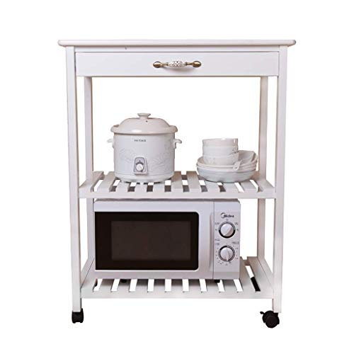 JINKEBIN Estante de cocina para horno de microondas de madera maciza, estante de almacenamiento para horno, suministros de cocina, estante de almacenamiento para ollas (blanco, 40 x 70 x 89 cm)