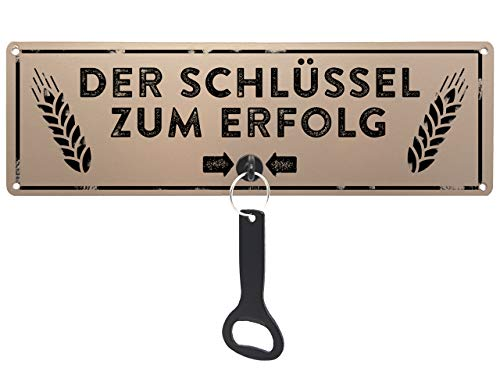 Schilderkönig Metallschild mit Flaschenöffner - Der Schlüssel zum Erfolg - wetterfestes Schild für Gartenhaus, Grillecke, Balkon, Terasse oder Küche