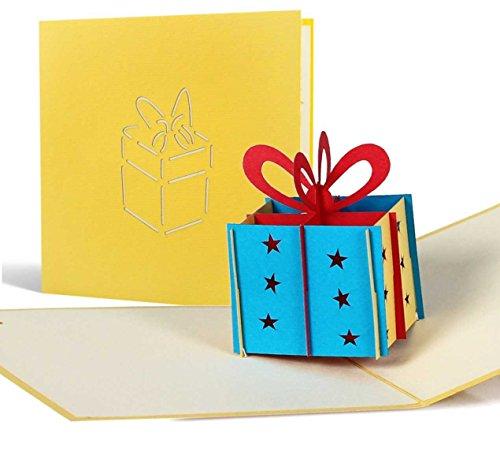 G01 Tarjeta de felicitación para cumpleaños de alta calidad hecho a mano y laser con diseño desplecable en 3D, paquete regalo, amarillo