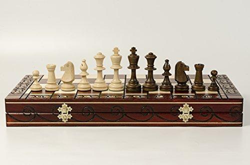 Impresionante juego de ajedrez de madera CONSUL de 48 cm. Tablero de ajedrez decorativo con adornos quemados y piezas ponderadas Staunton del torneo No5