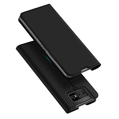 BaiFu Hülle für Asus Zenfone 7 Pro ZS671KS/7 ZS670KS Lederhülle Flip Hülle mit Magnetischem Superdünnem seidigem Brieftasche Schutzhülle Kompatibel mit Asus Zenfone 7 Pro ZS671KS/7 ZS670KS-Schwarz