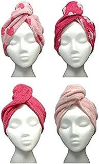 Turbie Twist Hair Towels Cotton (4 Pack) Pink Heart/Solid