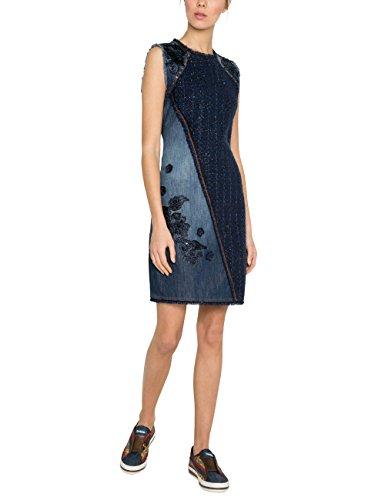 Desigual Damen Kleid VEST_ACHILLE Knielang, Blau (Denim Dark Blue 5008), 36 (Herstellergröße: 38)