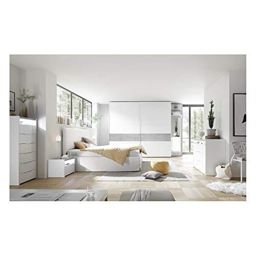 Azura Home Design - Cámara completa Amalti blanca y betono, cama de...