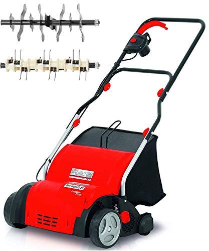 Grizzly Elektro Vertikutierer ERV 1400-1400 Watt, 35 cm Arbeitsbreite, Rasenvertikutierer, Rasenlüfter, empfohlen für Flächen bis 400 m²