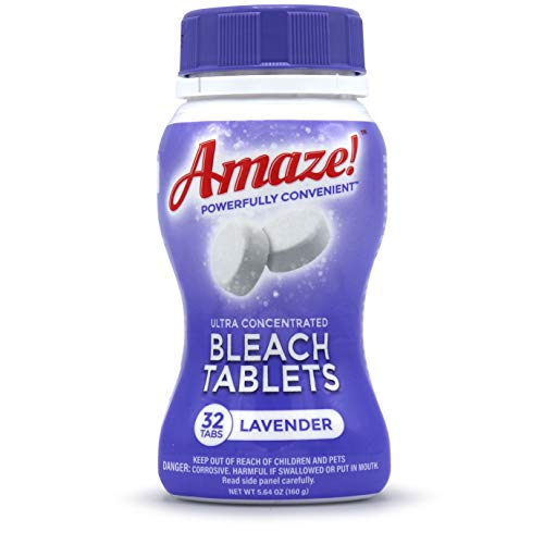 AMAZE! Ultra Concentrated Bleach Tablets for Laundry and Home Cleaning. (32 Count Lavender)