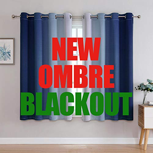 G2000 Blackout Curtains & Drapes for Bedroom Living Room 63 Inch Length Navy Blue and Greyish White Room Darkening Window Treatments Ombre Thermal Insulated Light Blocking Grommet Backdrop 2 Panels