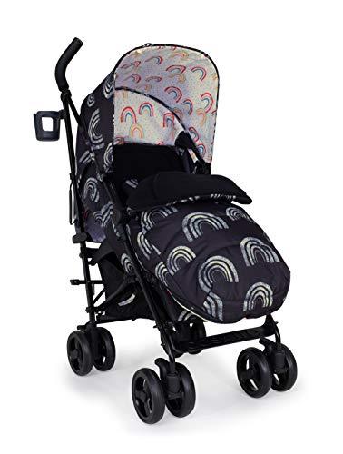 Cosatto Supa 3 Pushchair – Lightweight Stroller from Birth to 25Kg - Umbrella Fold, Large Shopping Basket, Footmuff, Night Rainbow