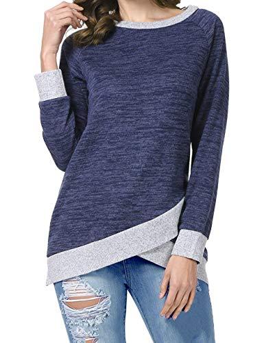 Odosalii Damen Langarm Patchwork Sweatshirt Pullover Casual T-Shirt Asymmetrisch Saum Tunika Tops (XX-Large, A_Königsblau 01)