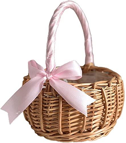 TETHYSUN Cesta de mimbre de mimbre para flores, cesta de almacenamiento tejida con asas para decoración del hogar y jardín