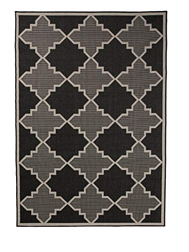 Furnish my Place Outdoor Collection Trellis Diamond Rug - 2 ft. x 3 ft. Black, Geometric Rug with Water Proof Surface for Living Room, Garden, Patio (1095BLK2X3)