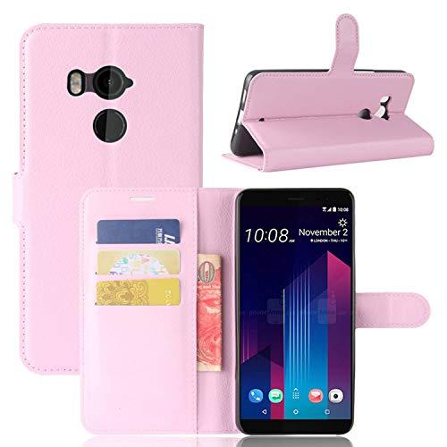 Guran® PU Ledertasche Hülle für HTC U12 Plus / U12+ Smartphone Flip Cover Kartenfach Wallet & Stent-Funktions Handyhülle Business Style Etui - Rosa
