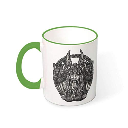 Knowikonwn Taza de café viking odin and his wolf Cup with Handle Porcelana Humor Cup verde 330ml