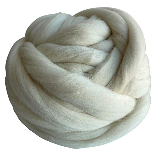 1 Lb. Revolution Fibers Merino Wool Roving Top - Natural Undyed Spinning Fiber Soft Wool Top Roving Perfect for Felting, Blending, Hand Spinning with Drop Spindle or Wheel and Weaving