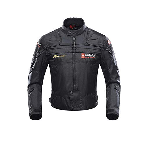 DUHAN Motorcycle Jackets Men Riding Motocross Enduro Racing Waterproof Jacket Moto Jacket Windproof Clothing Protection (Black jacket, M)